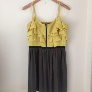 ELLE Chartreuse Ruffle Mini dress, zipper front